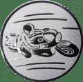 Emblem 25mm Motorradfahrer 1, silber