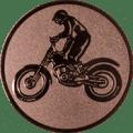 Emblem 25mm Motorrad mit stehendem Fahrer, bronze
