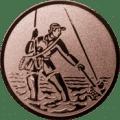 Emblem 25mm Fliegenangler im Wasser, bronze