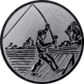 Emblem 25mm Angler beim Wurf, silber