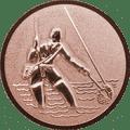 Emblem 25mm Fliegenangler im Wasser 3D, bronze