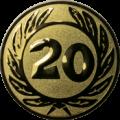 Emblem 25 mm Ehrenkranz mit 20, gold