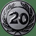 Emblem 25 mm Ehrenkranz mit 20, silber