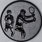 Emblem 25mm 2Tennisspieler, silber
