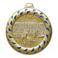 "Nr11 1 Medaille ""Tennis"" Ø 50mm gold/blau mit Band"