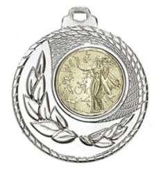 """SALE: Medaille """"Kamiros"""" Ø 50mm mit Wunschemblem und Band silber"""