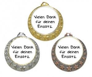 """Danke Medaille """"Brixia"""" Ø 32mm mit Doming-Aufkleber und Band"""