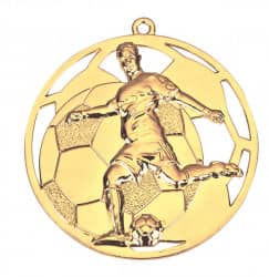 "3D Fußballmedaille ""Spieler"" Ø 50 mm inkl. Wunschemblem und Kordel gold"