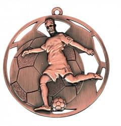 """3D Fußballmedaille """"Spieler"""" Ø 50 mm inkl. Wunschemblem und Kordel bronze"""