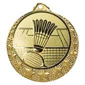"""Badminton Medaille """"Brixia"""" Ø 32mm mit Wunschemblem und Band gold"""