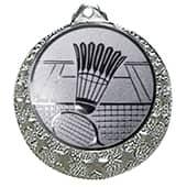 """Badminton Medaille """"Brixia"""" Ø 32mm mit Wunschemblem und Band silber"""