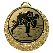 """Judo Medaille """"Brixia"""" Ø 32mm mit Wunschemblem und Band gold"""