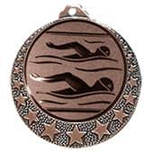 """Schwimm Medaille """"Brixia"""" Ø 32mm mit Emblem und Band bronze"""