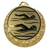 """Schwimm Medaille """"Brixia"""" Ø 32mm mit Emblem und Band gold"""