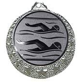 """Schwimm Medaille """"Brixia"""" Ø 32mm mit Emblem und Band silber"""