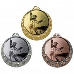 """Tischtennis Medaille """"Brixia"""" Ø 32mm mit Wunschemblem und Band"""