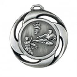 """Medaille """"Karate"""" Ø 40mm mit Band Silber"""