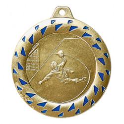 "SALE: Medaille ""Handball"" Ø 50mm gold/blau mit Band"