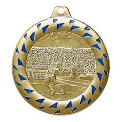 """Medaille """"Tennis"""" Ø 50mm gold/blau mit Band"""
