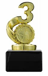 Pokal mit Zahl 3 und Emblem PF30 gold