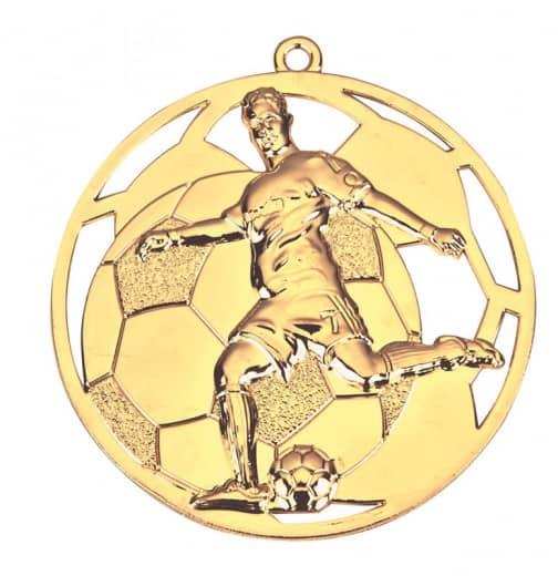 3D Fußballmedaille Spieler Ø 50 mm inkl. Wunschemblem und Kordel