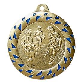SALE: Medaille Football Ø 50mm gold/blau mit Band