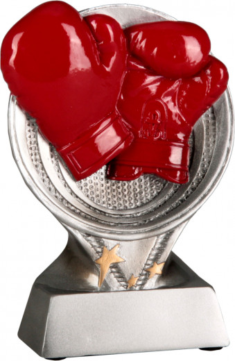 Boxpokal mit roten Handschuhen TRY-RS1401 silber