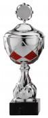 Pokale 12er Serie S759 silber/rot mit Deckel 26 cm