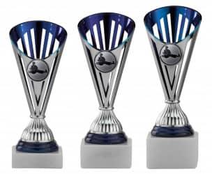 Karatepokale 3er Serie A311-KARA silber-blau