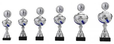 Pokale 6er Serie S499 silber-blau mit Deckel
