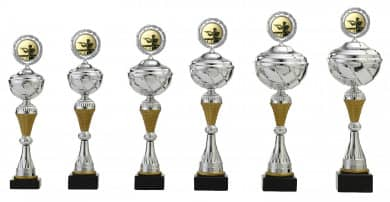 Pokale 6er Serie S502 silbergold mit Deckel