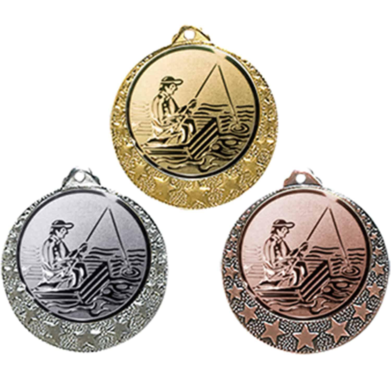 mit Einem Emblem Angler Angeln Medaillen-Band Fische inkl mit Emblem 25mm Medaille Medaillen aus Metall 50mm Farbe: Gold