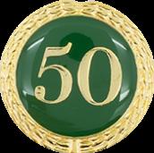 Auflage mit Zahl 50 grün