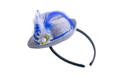 Haarreif mit Filzhut blau