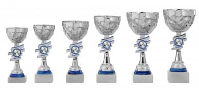 Pokale 6er Serie S434 silber/blau 27 cm