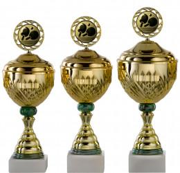 Pokale Serie S754-3erB gold-grün mit Deckel 43 cm