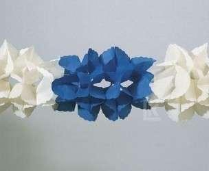 Girlande 3D blau/weiß, schwer entflammbar