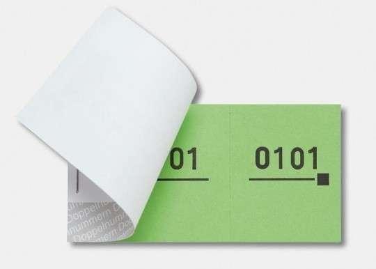 Nummernblocks = Doppelnummern 1-1000, versch. Farben blau