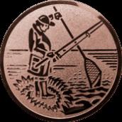 Emblem 25mm Angler m. Angel u. Kescher, bronze