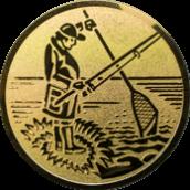 Emblem 25mm Angler m. Angel u. Kescher, gold