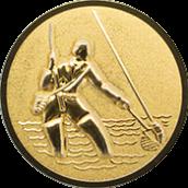 Emblem 25mm Fliegenangler im Wasser 3D, gold