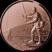 Emblem 50mm Angler mit Kescher links 3D, bronze