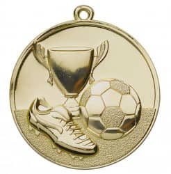Fußballmedaille Ø 50 mm inkl. Wunschemblem und Kordel gold