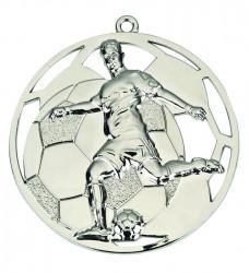 "3D Fußballmedaille ""Spieler"" Ø 50 mm inkl. Wunschemblem und Kordel silber"