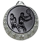 """Tennis Medaille """"Brixia"""" Ø 32mm mit Wunschemblem und Band silber"""