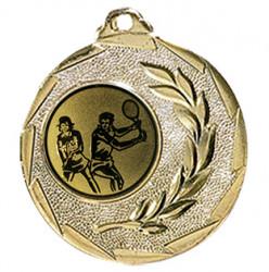 """Tennis Medaille """"Cava"""" Ø 50mm mit Wunschemblem und Band gold"""