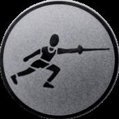 Emblem 25 mm Fechten, silber
