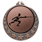 """Fecht Medaille """"Brixia"""" Ø 32mm mit Wunschemblem und Band bronze"""
