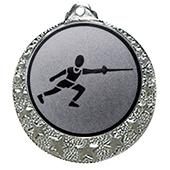 "Fecht Medaille ""Brixia"" Ø 32mm mit Wunschemblem und Band silber"