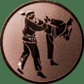 Emblem 25 mm 2 Karatekämpfer, bronze